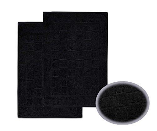 2 x Frottee Duschvorleger Badvorleger 50x70 cm Badematte 700g/m² Farbe Schwarz