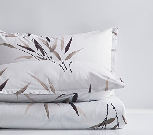 Simple Modern Watercolor Botanical Duvet Quilt Cover Soft Cotton Bedding Set Chic Minimalist Style bamboo Leaf Floral Print in Neutral Earthy Shades of Taupe Grey White (Queen)