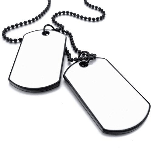 INBLUE Men,Women's 2PCS Alloy Pendant Necklace White Black Double Dog Tag Army Style Tribal 26 Inch Chain