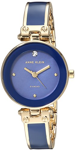 Anne Klein Women's Diamond-Accented Gold-Tone and Dark Blue Bangle Watch