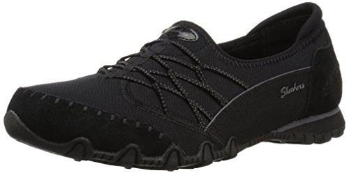 Skechers Women's Bikers Digits-Double Bungee Closure Slip-On-Relaxed Fit Sneaker, Black, 6.5 M US ()