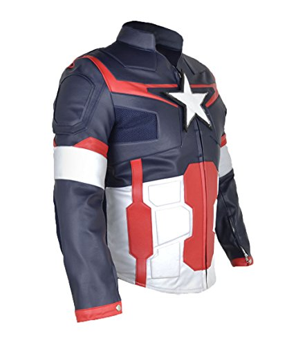 Captain America Avengers Cow hide Leather Jacket with Armour CA2 PS Blue Red