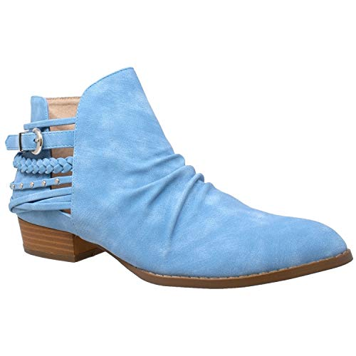 SOBEYO Womens Ankle Boots Western Block Heel Bootie Strappy Stud Buckle Shoes Blue SZ 5