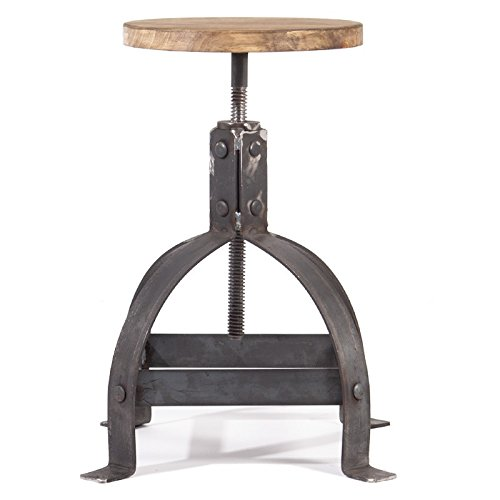 Indhouse–Sgabello vintage in stile loft industriale in metallo e legno Tribeca