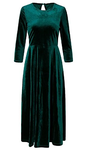 Coolred Velvet Evening Dresses Women Retro Green Gold Big Casual Hem Solid rHCgr7