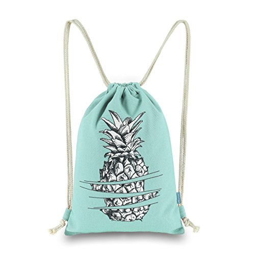 Miomao Drawstring Backpack Gym Sackpack Pineapple Style String Bags Canvas Sinch Sack Sport String Bag Cinch Sack For Men & Women 13 X 18 Inches Fair Aqua ()