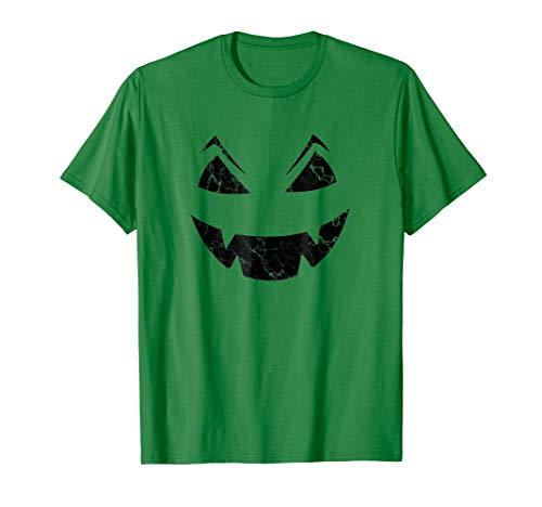 Funny Halloween Scary Pumpkin Face Dark Green Distress Shirt