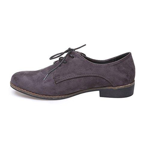 La Modeuse - Zapatos de cordones para mujer gris