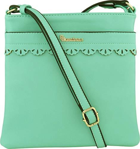B BRENTANO Vegan Medium Crossbody Handbag Purse (Mint)