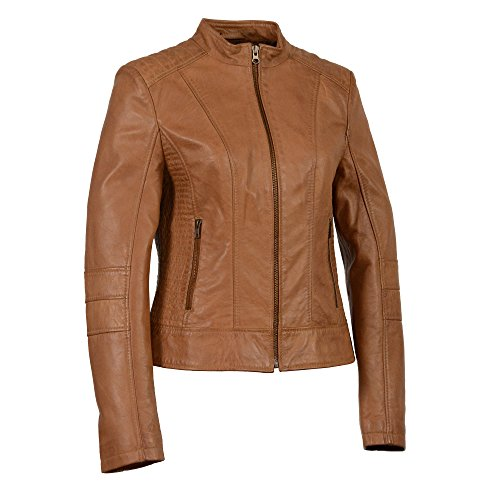 Milwaukee Leather Women's Zip Front Stand Up Collar Scuba Jacket (Saddle, X-Large) ()