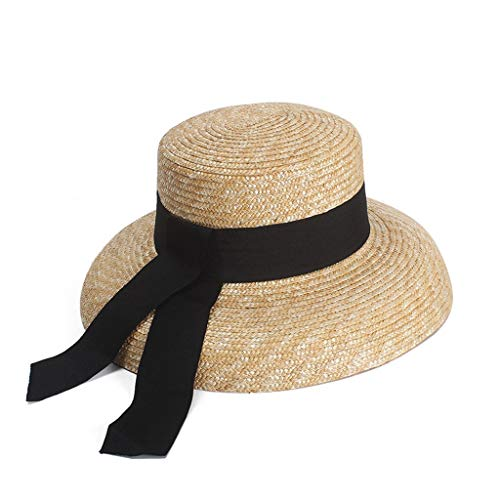 JXLBB French Retro Elegant Bell-Shaped Straw Hat Natural Straw 2019 New Big Hat Photography Visor Holiday Wind Sun Hat