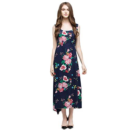 O Long Blue Neck Sleeveless Bohemian Strawberry Print Dress Womens Double Blue fwaPx