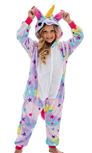 Girls Unicorn Pajamas Onesie Cosplay Costume for Kids (Star, 10-12 Years)]()