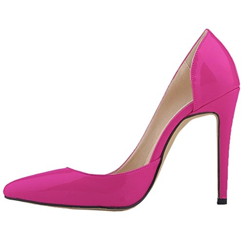 HooH Women's High Heel Pointed Toe D'orsay Wedding Pumps Rose Red r22A9K