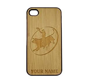 SudysAccessories Personalized Customized Custom Bull Rider On Wood Engraved Black iPhone 4 Case - For iPhone 4 4S 4G - Designer Real Bamboo Back Case Verizon AT&T Sprint(Send us an Amazon email after purchase with your choice of NAME)