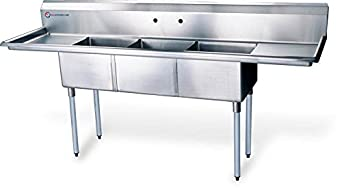 "EQ Kitchen Line XS3C121610-12LR-318 Compartment Sink, Kitchen Commercial, 43.75"" Height, 19.5"" Width, 60"" Length, Stainless Steel, Silver"