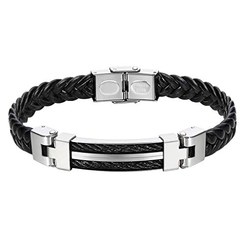 Goddesslili Leather Bracelet for Men Boyfriend Him with Clasp Buckle Steel and Stainless Steel Plate Vintage Retro Wedding Engagement Anniversary Jewelry Gift Under 5 Dollars