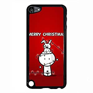 Lovely Merry Christmas Design Phone Case Hard Plastic Back Case Cover For Ipod Touch 5th,Merry Christmas---Black