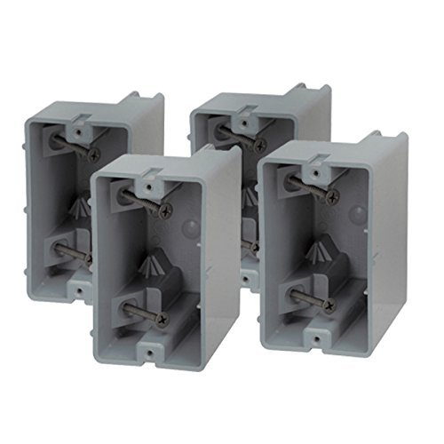 Madison Electric Products MSB1G4PK MSB1G Smart Depth Adjustable Box, 1 Gang, 18.5 cu. in. Gray (Pack of 4)