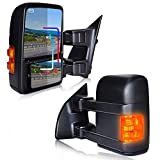 T-Former DOT Approved Black Rear Tow Mirrors Pair View Side Mirrors Towing Mirrors Power Heated with LED Turn Signal for Pickup Truck 2001 2002 2003 2004 2005 2006 2007 Ford F250 F350 F450 F550