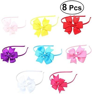 Frcolor 8pcs niñas grogrén cinta diadema con lazos corbata pelo ...
