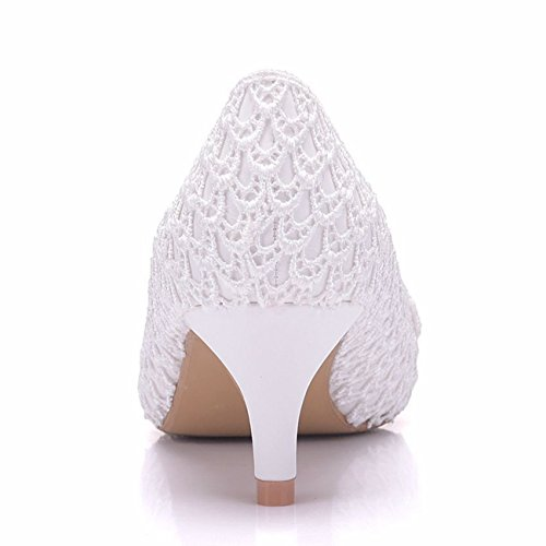 Tallone Da Donna Minishion 2 Fiori Di Pizzo Sul Tallone, Scarpe Da Sposa Bianche, Tacco Da 5 Cm