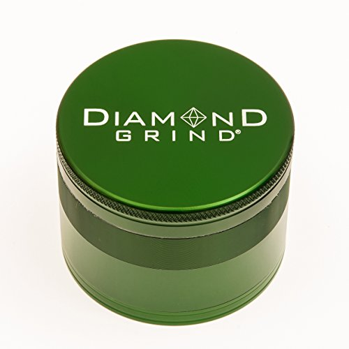 Diamond Grind 4 Piece Aluminum Herb Grinder with screen 56mm (2.25