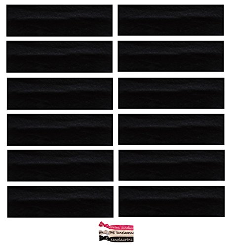 Kenz Laurenz Soft and Stretchy Elastic Cotton Headbands, (Pack of 12) - Black