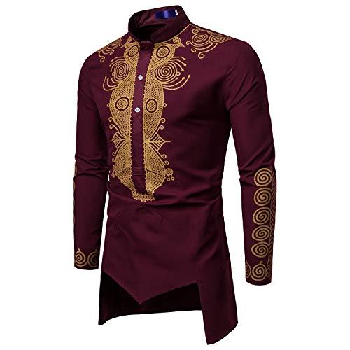 RDHOPE-Men Loose Long Sleeve African Dashiki Stand Up Collar Shirt Top