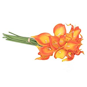 Royal Imports Calla Lily Flowers Artificial Fake Silk 18 Single Stems for Bouquets, Weddings, Valentines, Wreaths, Crafts, Faux Lilies, Orange 69