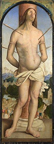 ポリエステルキャンバス、The Amazingアート装飾プリントキャンバスの油絵` Bernardino Zaganelli Saint Sebastian `、24x 64インチ/ 61x 163cmはBest forキッチン装飾、ホームとギフトの商品画像
