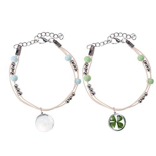 Amosfun 2pcs Four Leaf Clover Bracelet Beautiful Creative Dandelion Gem Decor Bracelet for Woman Girl Lady (Four Leaf Clover Gem)
