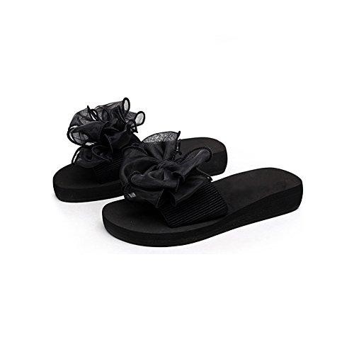 Fereshte Kvinna Flickor Bowknot Blomma Toffel Plattform Kilar Strand Sandaler För Mor Och Dotter 759-svart