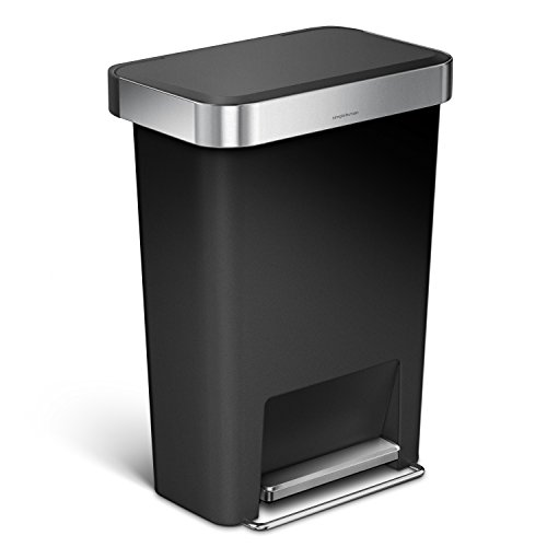 / 12 Gallon Rectangular Kitchen Step Trash Can with Liner Pocket, Black Plastic with Stainless Steel Liner Rim and Step Pedal ()
