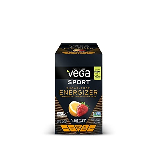 New Vega Sport Sugar Free Energizer Strawberry Lemonade (30 Count, 0.12oz) - Vegan, Keto-Friendly, Gluten Free, Sugar Free, All Natural, Pre Workout Powder, Non GMO