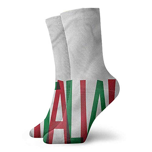 Italia Wings (Socks Design Color Italian Flag,Viva Italia Quote,socks with grips for women and wings)