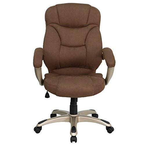 Flash Furniture High Back Brown Microfiber Contemporary Executive Swivel Chair with Arms