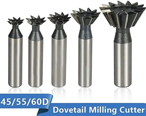 SHENYUAN Dovetail Milling Cutter 45 55 60 Degrees CNC Router Bit Straight Shank HSS End Mill (Size : 10x60Degrees)