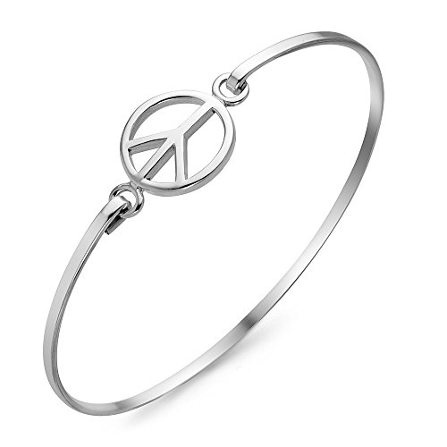 Sterling Silver Peace Bracelet - Chuvora 925 Sterling Silver Open Peace Love Sign Round Round Openable Hook Bangle Bracelet 7.5 inches
