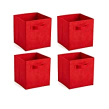 4 Sets-Non-woven Fabric Cube Storage Bins, Foldable Premium Quality Collapsible Baskets, Closet Organizer Drawers. Perfect to Store Kids Toys, Games, Books, Arts, Crafts, Office & Household Supplies (Red)