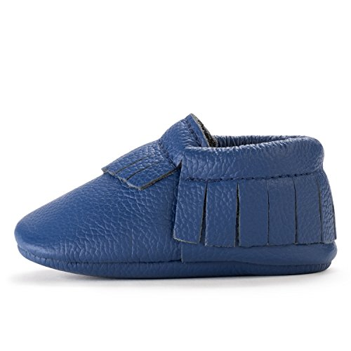 Birdrock Baby Moccasins   Premium Soft Sole Leather Boys And Girls Shoes For Infants  Babies  Toddlers  Medium   12 18 Months   Us 5 5  Royal Blue