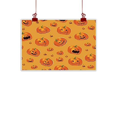 Mannwarehouse Abstract Painting Halloween Background with Pumpkins Natural Art 35