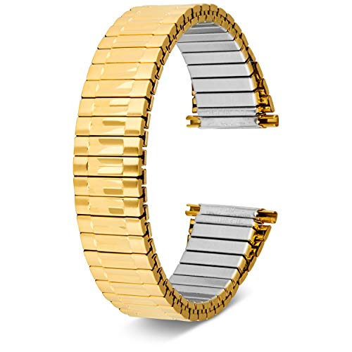 Men's Top Stainless Steel Stretch Watch Band, Oyster Style Look Expansion Tapered Metal, Choice of Colors (16mm,18mm, 20mm or 22mm) Straight and Expandable Ends, No Clasp Gold - by United Watchbands