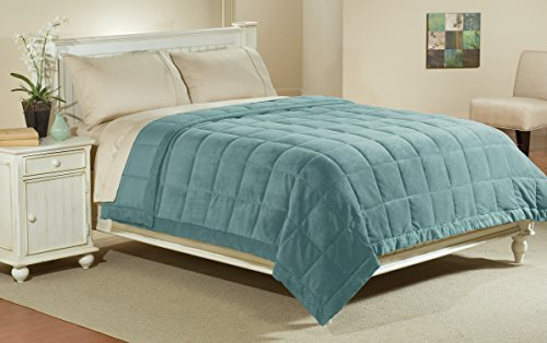 Luxlen King / California King Microfiber Blanket in Sky Blue | Reversible: Soft Plush to Satin Cool | Staintech Treated