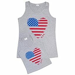 Unique Baby Girls Mommy & Me 4th of July Heart Tank Tops (5T/L, Grey)