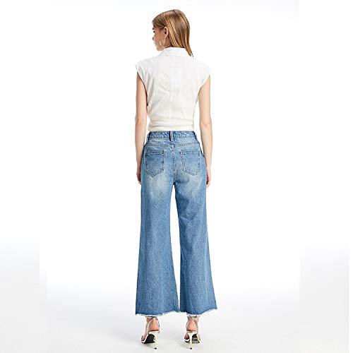 MVGUIHZPO Femme Jeans Hohe Mode losen chern Beinhosen breite Taille M L und rrBxwda