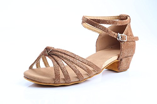 ShangYi Dance shoes, children's soft bottom shoes, children's Latin dance shoes, women's dance shoes, ballroom dance shoes, with height 3.5cm copper
