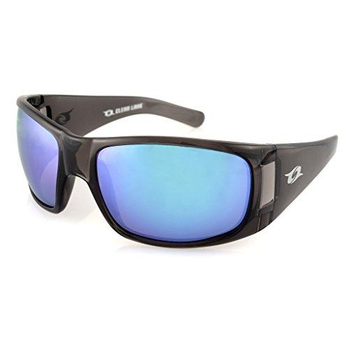 Clear Lake Montana Polarized Fishing Sunglasses, Wraparound Frame, Grey w/ Blue Mirror - Lenses Clear Polarized