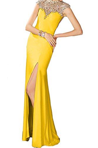 Gruen Lemon Damen Abendkleider mit Steine Dunkel Braut Abschlussballkleider La Partykleider Gelb Marie R7qUII