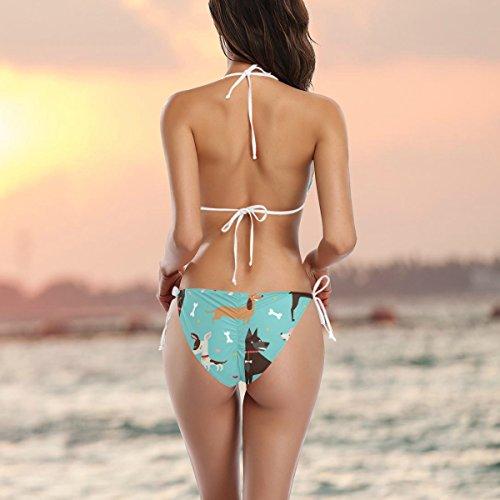 COOSUN Netter Hunde-Muster-Bikini-Badeanzug Tie Side Gepolsterte Bikini-Badebekleidung zwei Stücke Zu XS Mehrfarbig CuTAE4LK